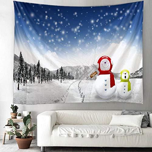 Tapiz navideño con patrón de muñecos de Nieve navideños para Colgar en la Pared para la decoración del hogar, Sala de Estar, Dormitorio, 150x110cm