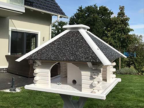 Deko-Shop-Hannusch Vogelhaus, Vogelhäuschen, Futterhaus V 20 Stein Weiss, Vogelhausständer:ohne Vogelhausständer, Solarbeleuchtung:mit Solarbeleuchtung