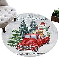 カーペット 円形 ラグマット クリスマス 車 クリスマスツリー 雪だるま プレゼント じゅうたん シャギーラグ 絨毯 ふわふわ マイクロファイバー 防音 滑り止め付 床暖房 ホットカーペット対応 おしゃれ 直径 91cm