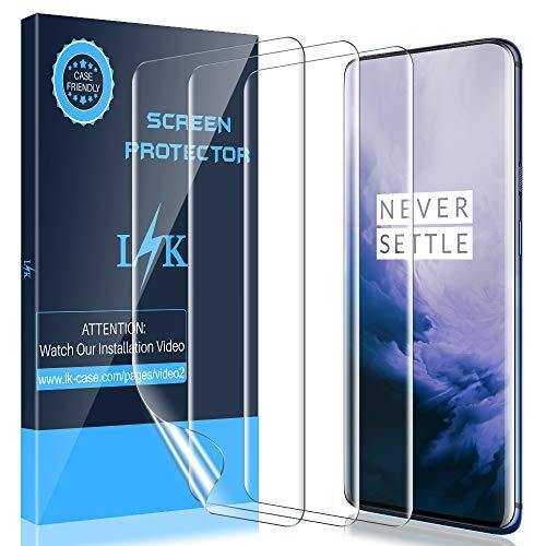 LK [3 Stück Schutzfolie für OnePlus 7 Pro (6.7 Zoll), OnePlus 7 Pro Folie [Fingerabdruck-ID unterstützen] [Blasenfreie] Klar HD Weich TPU Folie