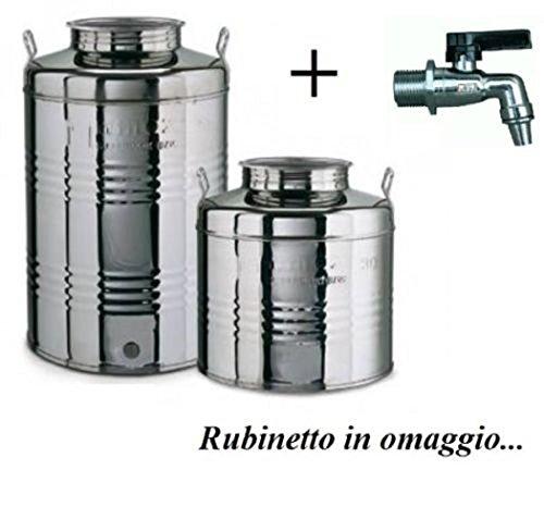 Megashopitalia Contenitore Bidone Fusto per Olio in Acciaio Inox 15 30 50 Litri Made in Italy con Guarnizione per Il Tappo e Rubinetto da 1/2 Pollice Incluso (50 Litri)