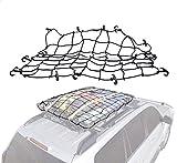 Z-ZH Gepäck-Frachtnetz, 51 '' elastische Netztasche mit 6 Gummi- Offroad-Fahrzeug-Netzseil-Gepäckablage, gebundenes Seil (schwarz)