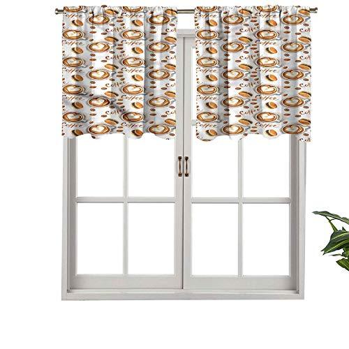 Hiiiman - Juego de cortinas para ventana pequeña (127 x 45,7 cm, para cocina, comedor y habitación de niñas