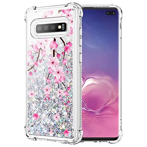 Caka Glitter Case for Galaxy S10 Plus Flower Case Liquid Luxury Fashion Bling Cherry Blossom Flowing Liquid Floating Sparkle Glitter Soft TPU Case for Samsung Galaxy S10 Plus (Cherry)