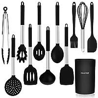 chasstoo set di utensili da cucina in silicone, 12 pezzi antiaderenti utensili da cucina, resistenti al calore utensili cucina set, anti-graffiato, nero