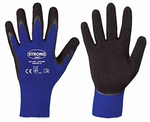 6 Paar Schwarze Arbeitshandschuhe LAFOGRIP Stronghand mit Grip Latexhandschuhe Gr. 8-11 Plus 1 Paar Gehörschutzstöpsel von 3M //Ideal für Werkstatt und Garten (10/XL)