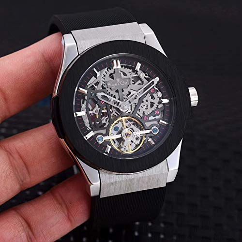 GFDSA Automatische horloges Luxe merk Heren Rose Goud Zilver Zwart Blauw Grijs Leer Automatisch Mechanisch Saffier Tourbillon Horloge Transparant