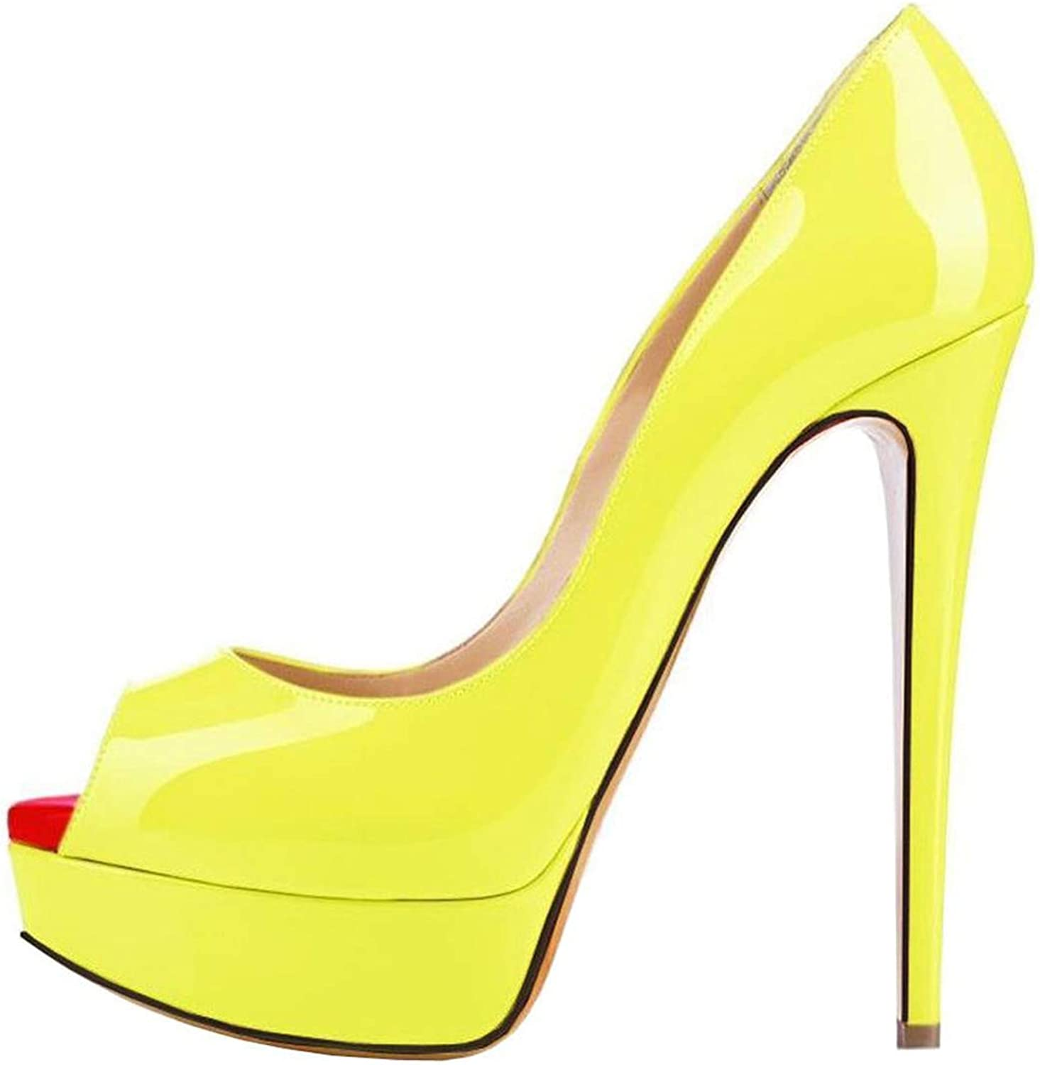 LAIGEDANZI Womens Pumps Leather Wedges Platform Stiletto High Heels Open Toe Sexy Party shoes,Light Yellow,11