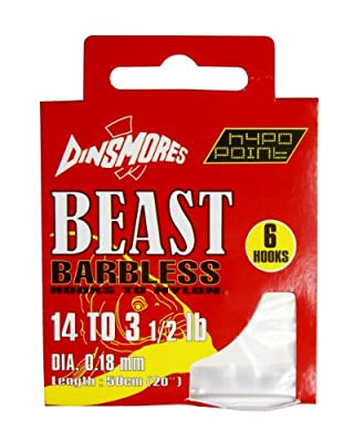 Dinsmores Beast Barbless Fishing Hooks to Nylon - White, 14