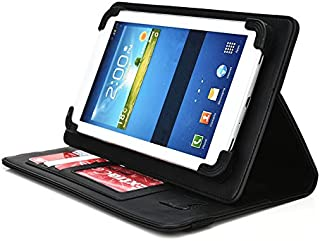 Vulcan Journey 7 Inch Tablet Case, UniGrip PRO Series - BLACK - By Cush Cases (Case Features Top Quality PU Leather with Bulit In Stand, Hand Strap, 3 Card Slots and SIM Card Holder)