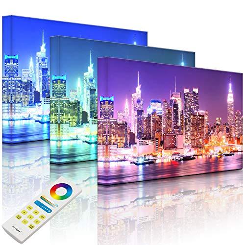 Lightbox Tableau lumineux LED multicolore | Motif pont de New York City de nuit | 100 x 70 cm | Fully Lighted