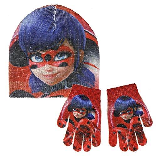 takestop® handschoenen en hoed rood Lady Bug lieveheersbeestje cartoon satijn Miraculous Disney winter meisjes cadeau