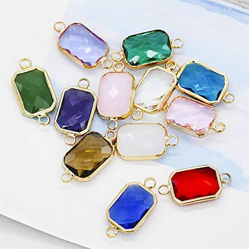 Rectángulo de diamantes de imitación de cristal facetado de 2 lazos Colgante de cristal enmarcado Collar pulsera Pulsera Piedra de nacimiento Encantos conector gemas, colores mezclados, 13x18mm12p