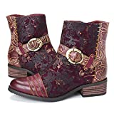 gracosy Ankle Boots for Women, Leather Ankle Bootie Vintage Fashion Short Boots Side Zipper Floral Pattern Comfort Shoes Ladies Winter Boots Red 11 M US