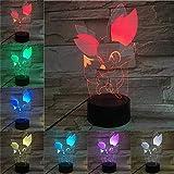 Bande dessinée 3D Lampe Pokemon Jeu Chiffres Fennekin Fokko RVB Veilleuse Led Ampoule Multicolore Enfants Cadeau Enfant Jouet Gadgets De Vacances