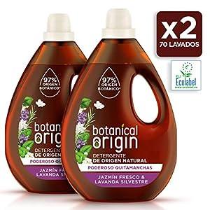 Botanical Origin Detergente para lavadora ecológico apto para pieles sensibles, Fragancia Jazmín Fresco y Lavanda Silvestre – 70 lavados