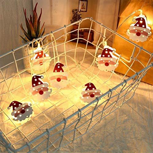 Santa Claus Ledlamp, kunststof roestvrij staal en LED-licht, Santa slee lichtketting smeedijzeren uithullen Double Face 10 LED Santa Lights voor balkons, frame, trappen, meubels [energieklasse A ]