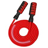 OWS Weighted Jump Rope Workout 9mm Heavy Extra Thick Bold Cotton Rope Adjustable Skipping Rope with Double Ball Bearing Non-Slip Handle for Women Men Professional Training Cardio Endurance Fitness