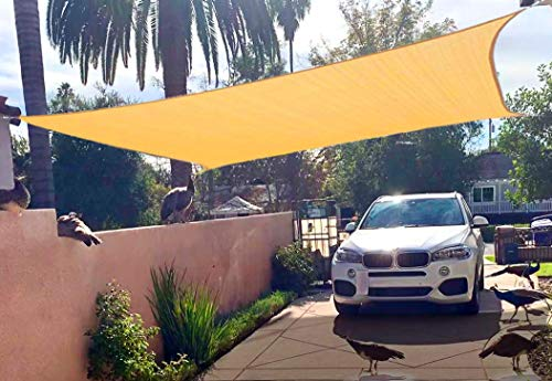Euchirus Sun Shade Sail Canopy 8' x 10',Rectangle Shade Cloth UV Block Sunshade Fabric - Outdoor Cover Awning Shelter for Pergola Backyard Garden Yard (Sand Color)