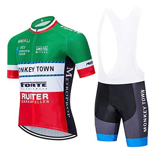 Bike Completo Ciclismo Uomo, Maglia Ciclismo con Tasche Posteriori e Gel Padded Salopette Ciclismo per Estivo, MTB