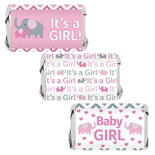 Pink Elephant Girl Baby Shower Mini Candy Bar Wrappers - 45 Stickers
