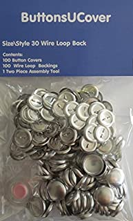 ButtonsUCover 100 Cover Buttons with Wire Loop Back Size 30 and Assembly Tool Kit