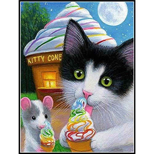 Diamond Kits DIY Malerei von Diamond Kits für Erwachsene Kinder Zuhause Zimmer Büro Dekoration Geschenk für Sie Ihn Süße Katze 30 x 39,9 cm von Jestang