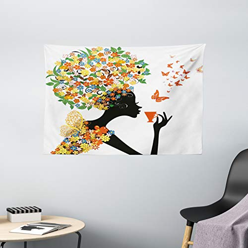 Ambesonne Floral Tapestry, Woman Silhouette with Hot Tea Cup Butterflies Wings Daisies Poppy Hibiscus Hairstyle, Wide Wall Hanging for Bedroom Living Room Dorm, 60' X 40', Charcoal Grey