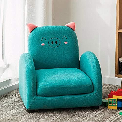 Asiento de sofá Infantil Dibujos Animados niño niña Princesa bebé bebé Aprender a Sentarse en el Asiento del sofá Lectura Linda Tatami-Tela Azul Cerdito sofá reclinable