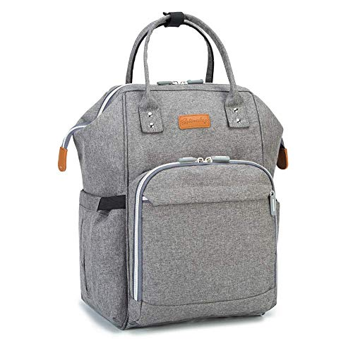 Baby Changing Bag Backpack with Changing Mat and USB Charging Port and Buggy Clips and Separate Insulation Pouch, Maydolly Waterproof Diaper Bag Nappy Backpacks Travel Bag for Men and Women, Grey