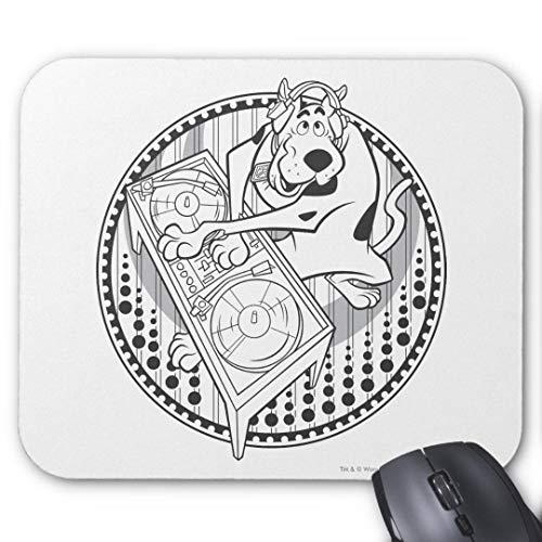 Mauspad/Mauspad für Computer/Laptop, rutschfest, Gummi, rund, 20 x 24 cm, Scooby DJ Scooby1, 2 Stück