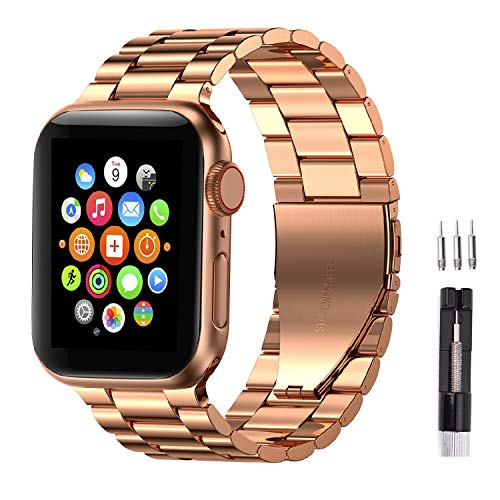 Fitlink Stainless Steel Metal Strap Replacement Link Bracelet Band Compatible with 2019 Apple Watch Series 5 Apple Watch Series 1/2/3/4 38/40mm and 42/44mm(Rose Gold, 42/44 mm)