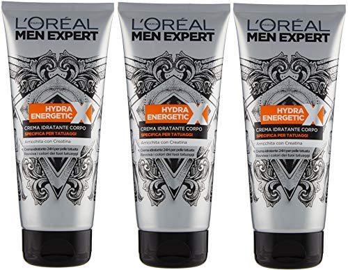 3er Pack L'Oreal Men Expert Bodylotion Tattoo mit Kreatin für intensive Farben 3x200ml
