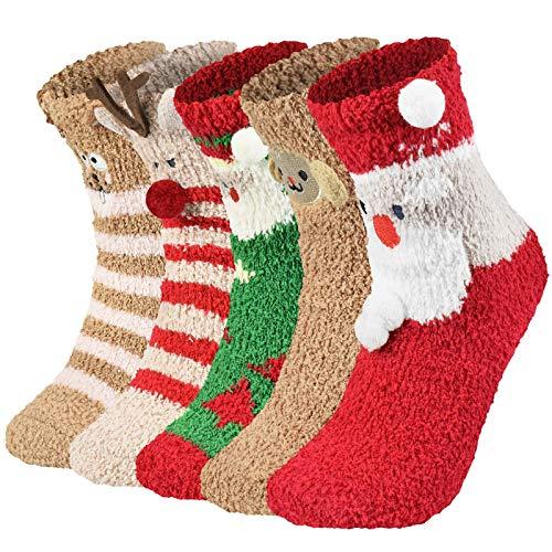 heekpek 5 Paires Calcetines de Invierno Grueso Caliente para Navidad Papá Noel Reno (B, talla única)