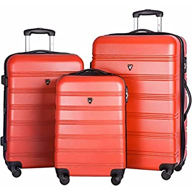 Merax Travelhouse Luggage 3 Piece Expandable Spinner Set (Red_1)