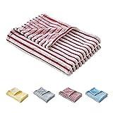 FlySheep Flannel Fleece Red Blanket for Newborn Baby Boys n Girls, Soft Cozy Microfiber Toddler Crib Nursery Blanket, Reversible Stripes (27x39 inches)