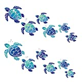 12 Pieces Sea Turtle Wall Decals Turtle Vinyl Stickers Underwater Ocean Decals Waterproof Wall Sticker Decoration for Home Office Living Room Wall Bathroom Toilet