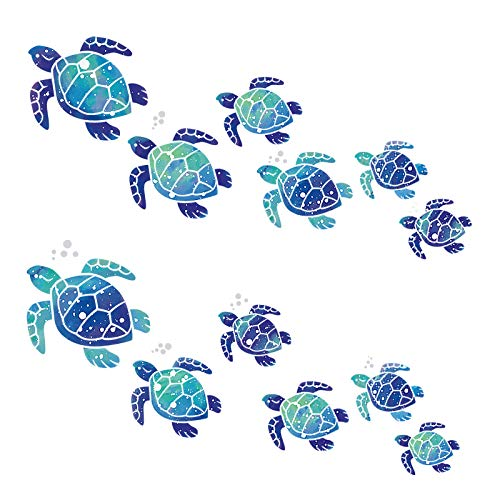 Sea Turtle Wall Decals Turtle Vinyl Stickers Underwater Ocean Decals Waterproof Wall Sticker Decoration for Home Office Living Room Wall Bathroom Toilet (12 Pieces)