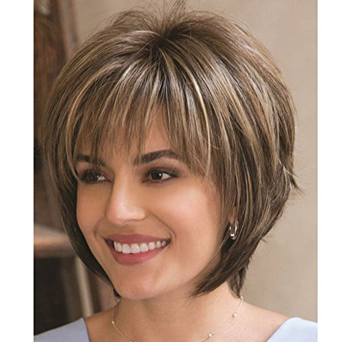 QianBaiHui Short Brown Wigs for Women Short Fluffy Brown Mix Blonde Hair Wigs with Bangs Heat Resistant Synthetic Hair Wig + Wig Cap (Brown Mix) LDS002