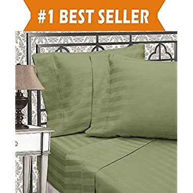 Elegant Comfort Best, Softest, Coziest 6-Piece Sheet Sets! - 1500 Thread Count Egyptian Quality Luxurious Wrinkle Resistant 6-Piece DAMASK STRIPE Bed Sheet Set, California King Sage/Green