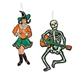 Beistle 01458 Jointed GoGo Dancers 4 Piece Vintage Halloween Party Decorations, 14' & 14.5', Green/Orange/Off White/Black