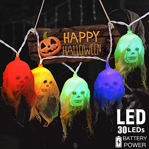 HFWQHTEQ Halloween Skull String Lights Decorations,14.8ft 30 LEDs Hanging Light Decor for Party Patio Indoor Outdoor,Colorful,Battery Operated,Waterproof