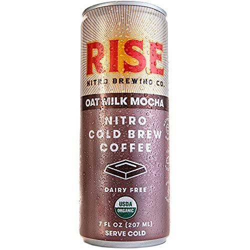 RISE Brewing Co.   Oat Milk Mocha Nitro Cold Brew Latte   Vegan & Non-Dairy   Organic, Non-GMO   Low Acidity   7 fl. oz. Cans (12 Pack)