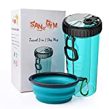 Dog Water Bottle with Bowl SANGYM Travel Portable 2-in-1 Dog Mug and Food Container with Collapsible Dog Bowl