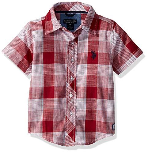 U.S. Polo Assn. Boys' Big Short Sleeve Plaid Woven Shirt, Classic University Red, 10/12