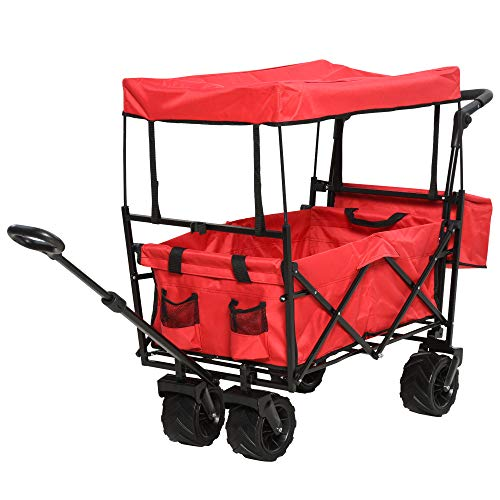 DURHAND Collapsible Folding Garden Utility Cart Wagon with Adjustable Push/Pull Handle, Canopy & All-Terrain Wheels, Red