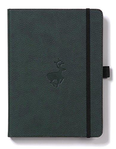 Dingbats D5104G Wildlife A4+ Hardcover Notizbuch - PU-Leder, Mikroperforiert 100gsm Creme Seiten, Innentasche, Gummiband, Stifthalter, Lesezeichen (Gepunktet, Grüne Hirsche)