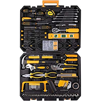 198 Piece Mechanics Tool Set Socket Wrench Auto Repair Tool Combination Mixed Tools Set Hand Tool Kit with Plastic Toolbox Organizer Storage Case by BEESTAND