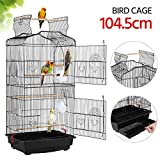 Yaheetech Hanging Bird Cage for Small Parrot Cockatiel Sun Quaker Parakeet Green Cheek Conure Parrotlet Finch Canary Budgie Lovebird Travel Bird Cage Black