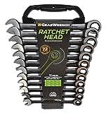 GearWrench 9412BE 12 Piezas Juego de Llaves Combinadas Métrica, 8-19 mm, Negro, Ratchet Head, Set